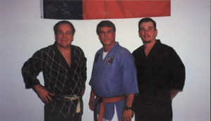 Mr. Shoffit with Jack Hogan at Ryukyn Kempo (Blake DeHart far right)