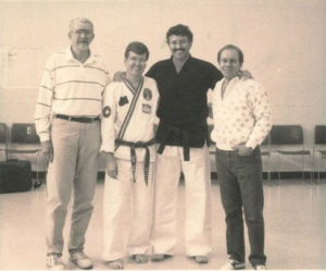 Martial arts pioneer Jack Ericson, historian Keith Yates, Hall of Fame Roy Kurban with Mr. Shoffit